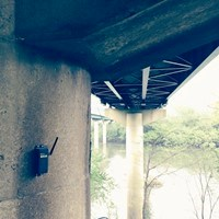 Resensys wireless tilt (inclination) SenSpot sensor to monitor piers of I-81 across Potomac River for possible deflection with 0.001 degrees accuracy